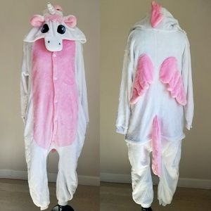 Unicorn White and Pink Onsie w Buttons & Back Zip